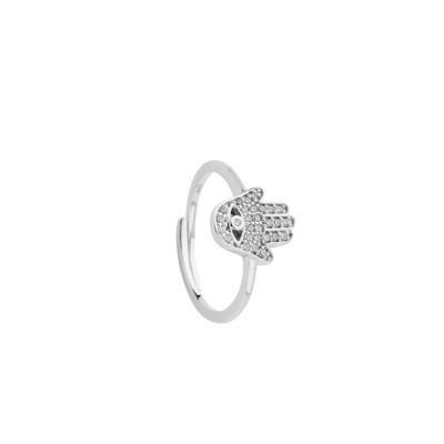 Ring with cubic zirconia hand of Fatima