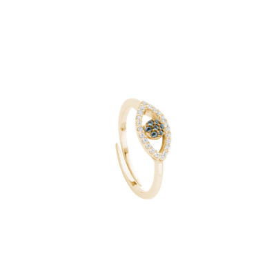 Yellow gold plated ring with cubic zirconia eye