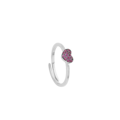 Ring with heart of fuchsia cubic zirconia