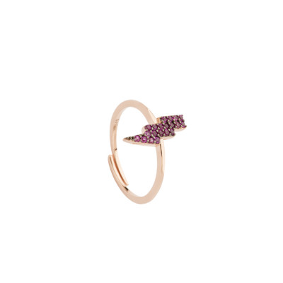 Ring with lightning of fuchsia cubic zirconia