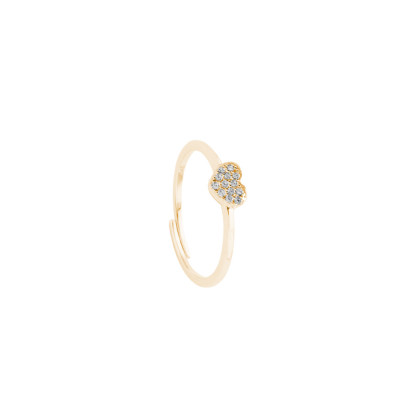 Yellow gold plated ring with zircon heart
