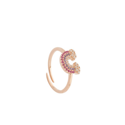 Rose gold plated ring with rainbow of multicolor zircons