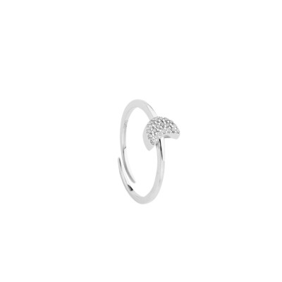 Ring with a crescent of white cubic zirconia