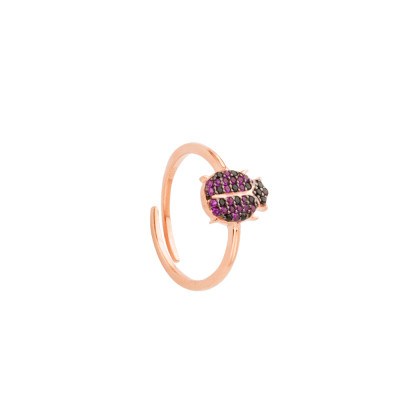 Rose gold plated ring with cubic zirconia ladybird