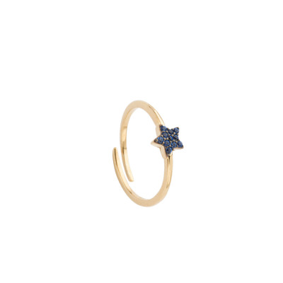 Yellow gold plated ring with zircon star