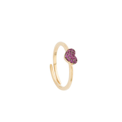 Rose gold plated ring with fuchsia zircon heart