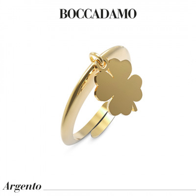 Yellow gold plated ring with pendant four-leaf clover