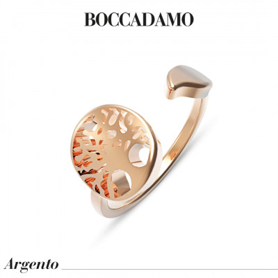 Rose gold plated contrari ring with tree of life