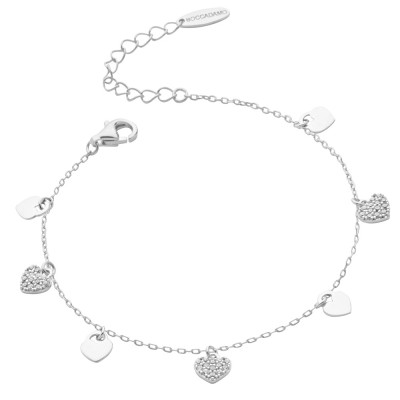 Bracelet with smooth hearts and zircons