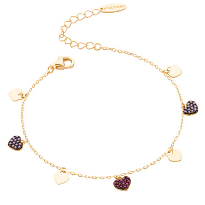 Bracelet with smooth hearts and fuchsia cubic zirconia