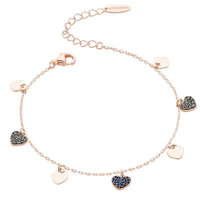 Bracelet with smooth hearts and blue zircons