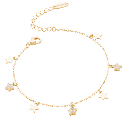 Yellow gold plated bracelet with smooth stars and cubic zirconia