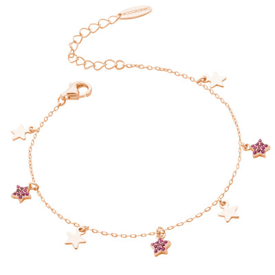 Rose gold plated bracelet with smooth stars and cubic zirconia