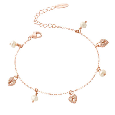 Rose gold plated bracelet with cubic zirconia hearts and freshwater pearls