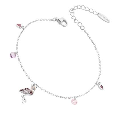 Bracelet with pink cubic zirconia flamingo