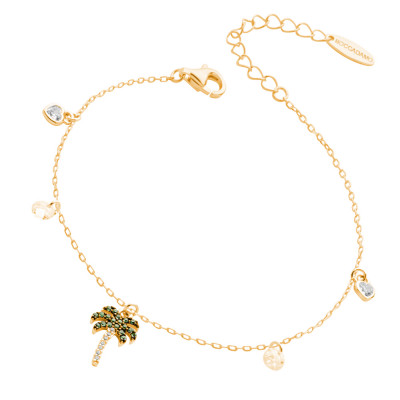 Yellow gold plated bracelet with cubic zirconia palm