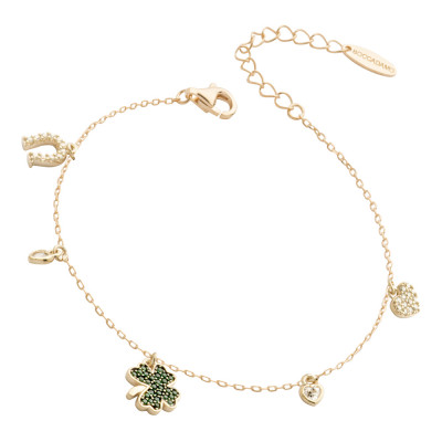 Yellow gold plated bracelet with cubic zirconia clover