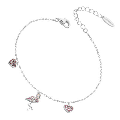 Bracelet with flamingo and pink cubic zirconia hearts