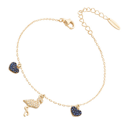 Bracelet with flamingo and blue cubic zirconia hearts