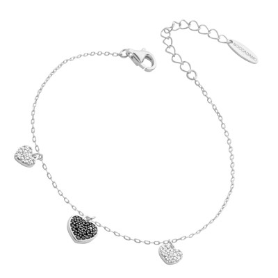 Bracelet with black zircon hearts