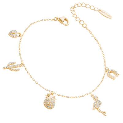 Yellow gold-plated bracelet with zircon pendants with exotic inspirations