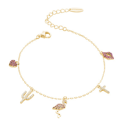 Yellow gold plated bracelet with pink and white zircon pendants