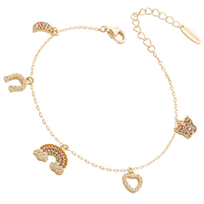 Yellow gold plated bracelet with multicolor zircon pendants