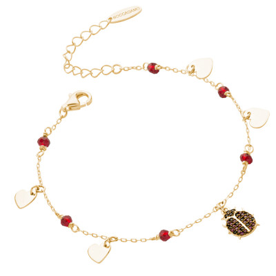 Yellow gold plated bracelet with cubic zirconia ladybird
