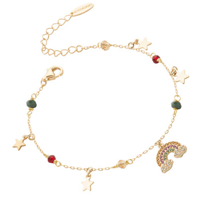 Yellow gold plated bracelet with rainbow of cubic zirconia and stars