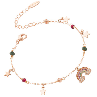 Rose gold plated bracelet with rainbow of cubic zirconia and stars