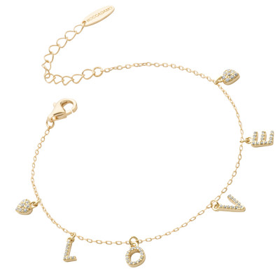 Yellow gold plated bracelet with zircon LOVE writing
