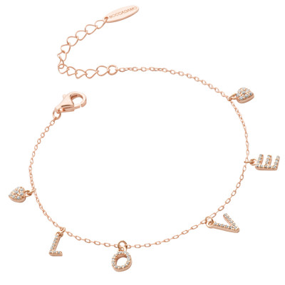 Rose gold plated bracelet with zircon LOVE writing