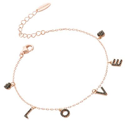 Bracelet with black zircon LOVE writing