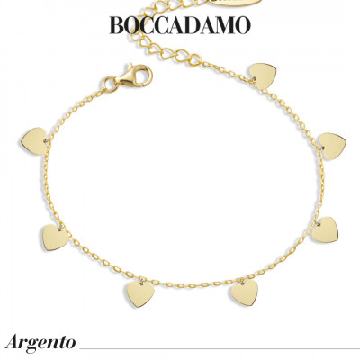 Yellow gold plated bracelet with hearts