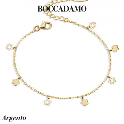 Yellow gold plated bracelet with flowers
