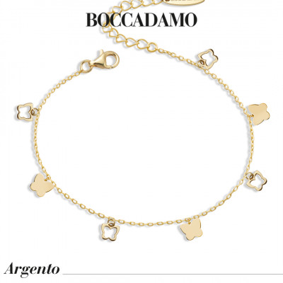 Yellow gold plated bracelet with hanging butterflies