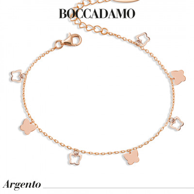 Rose gold plated bracelet with hanging butterflies