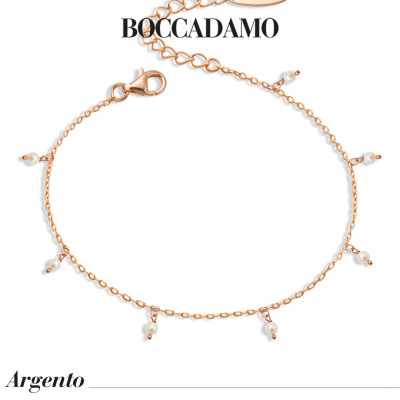 Rose gold plated bracelet with natural pearls