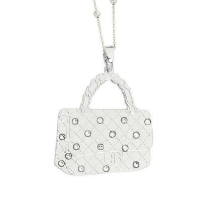 Necklace with rhodium plated handbag pendant and Swarovski