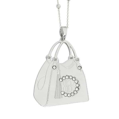 Necklace with shopping bag pendant rhodium plated and Swarovski