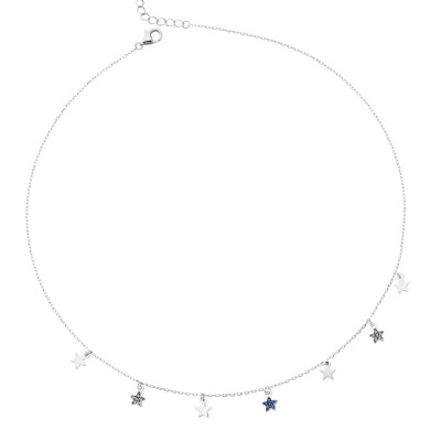 Necklace with smooth stars and zircons