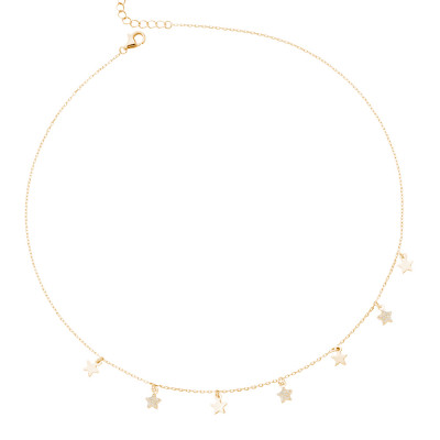Yellow gold plated necklace with smooth stars and zircons