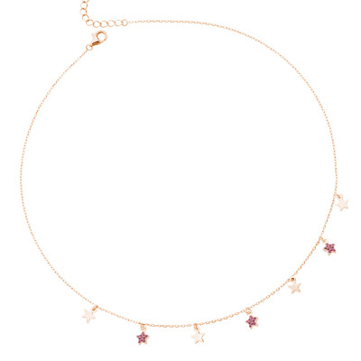 Rose gold plated necklace with smooth stars and cubic zirconia