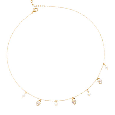 Yellow gold plated necklace with cubic zirconia hearts and freshwater pearls