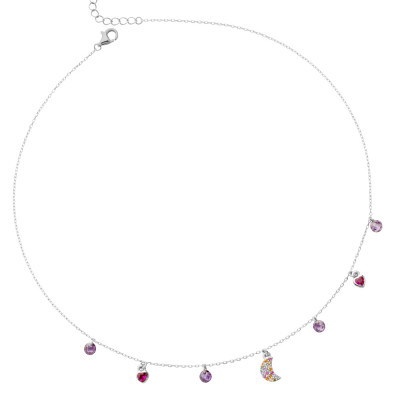 Necklace with crescent in multicolor zircons