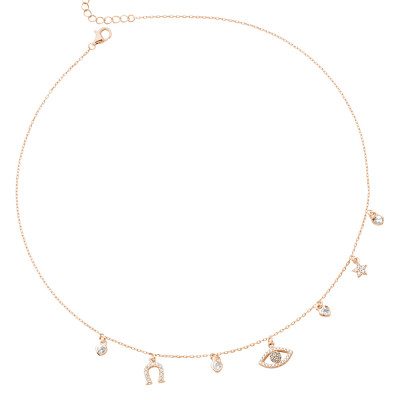 Rose gold plated necklace with Horus eye and cubic zirconia horseshoe