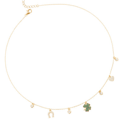 Necklace with four-leaf clover of green cubic zirconia