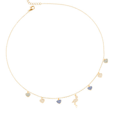 Yellow gold plated necklace with flamingo and celestial zircon hearts