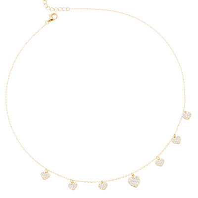 Yellow gold plated necklace with white zircon hearts