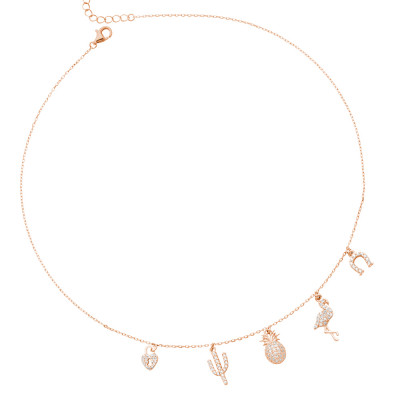Rose gold plated necklace with exotic zircon pendants